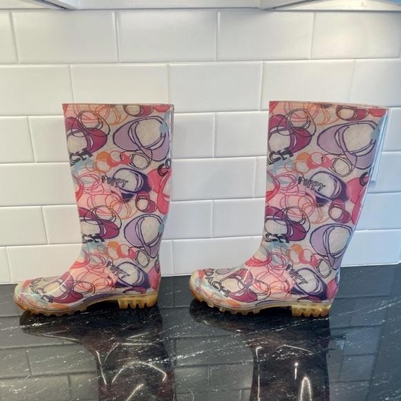 EUC Women's Coach Poppy Tall Rain Boots Size 6